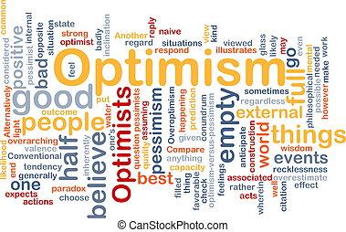 Optimism word cloud - Word cloud concept illustration of ...
