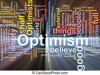 optimisme, wolk, gloeiend, woord