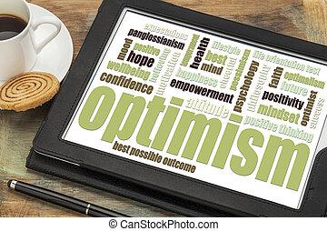 optimisme, woord, wolk, op, tablet
