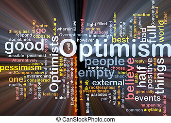 optimismo, nube, encendido, palabra