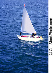 Optimist, recreation little sailboat regatta, Spain -...