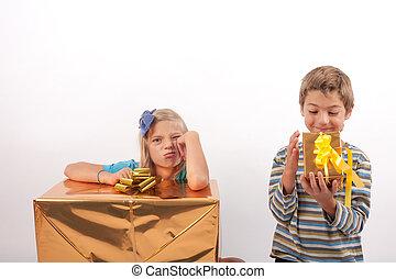 Optimist vs pessimist kid - Optimist brother and pessimist...