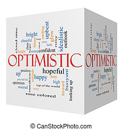 optimista, 3d, cubo, palabra, nube, concepto