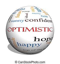 optimista, 3d, esfera, palabra, nube, concepto