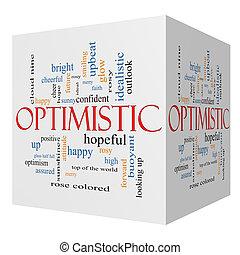 Optimistic 3D cube Word Cloud Concept