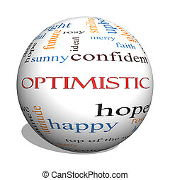 Optimistic 3D sphere Word Cloud Concept