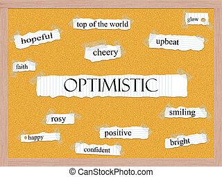Optimistic Corkboard Word Concept