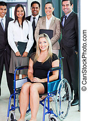 disabled young businesswoman and team - optimistic disabled ...