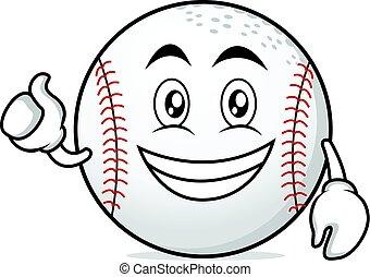 Optimistic face baseball cartoon character