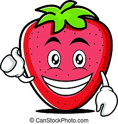 Optimistic face strawberry cartoon character