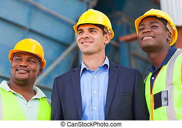 heavy industry manager and workers