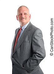 Optimistic Man - An optimistic businessman looking toward...