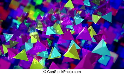 """3d rendering of shining multicolored pyramids with the symbols of chemical elements moving up and down in the black background. They create the mood of optimism and innovation in seamless loop."""