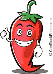 Optimistic red chili character cartoon
