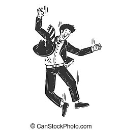 Optimistic suicide businessman falling from skyscraper sketch engraving vector illustration. T-shirt apparel print design. Scratch board style imitation. Black and white hand drawn image.