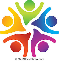 Group of people in a circle with arms up
