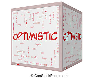 Optimistic Word Cloud Concept on a 3D cube Whiteboard
