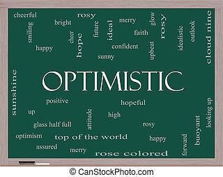 optimistisch, woord, wolk, concept, op, een, bord