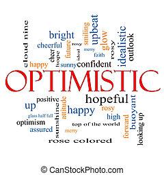optimistisch, wort, wolke, begriff