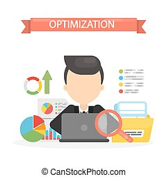 Optimization concept illustration. Man sitting at the laptop...
