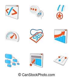 Optimization icons set, cartoon style