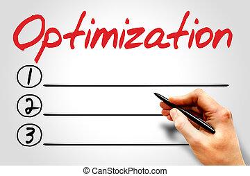 OPTIMIZATION blank list, business concept