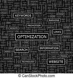 OPTIMIZATION. Seamless pattern. Word cloud illustration.