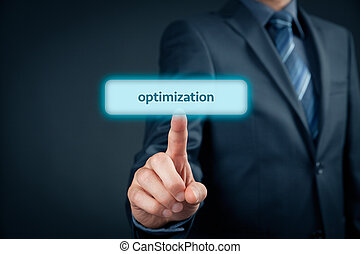 Optimization (SEO, management) concept. Businessman click on...