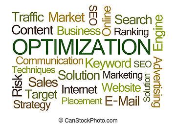 optimization, szó, felhő