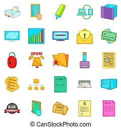 Option icons set, cartoon style
