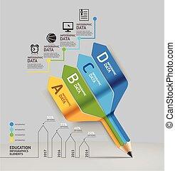 option., sein, gebraucht, geschaeftswelt, treppenaufgang, web, auf, optionen, workflow, zahl, bleistift, plan, diagramm, treten, vektor, buechse, infographics, banner, illustration., bildung, design.