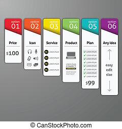 optionen, template., diagramm, gebraucht, web, treten, schablone, vektor, infographics, design, element, sein, workflow, buechse, auf, plan, zahl, design, illustration., abstrakt, banner
