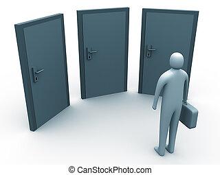 3d person standing in front of 3 doors.
