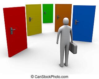 Options #2 - 3d person in front of five 3d doors.
