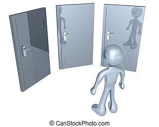 3d person in front of three doors.