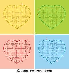 options., appartamento, set, heart., semplice, interessante, isolato, illustrazione, quattro, fondo., gioco, teenagers., vettore, labirinto, bambini, rosso