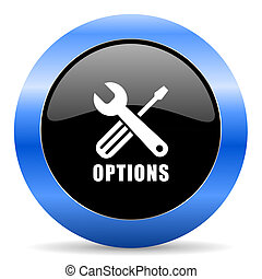 Options black and blue web design round internet icon with shadow on white background.
