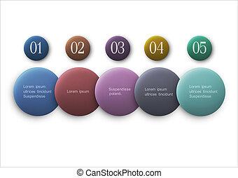 options, boutons, -, vecteur, infographics, conception