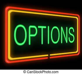 Illustration depicting a neon signage with an options concept.