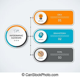 options., diagramma, 3, infographic, sagoma