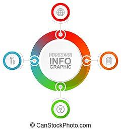 options, diagramme, 4, flot travail, vecteur, concept affaires, présentation, infographic, gabarit