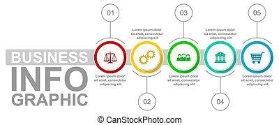 options, droit & loi, gabarit, vecteur, infographic, présentation, diagramme, concept, 5, graphique, diagramme, technologie, business