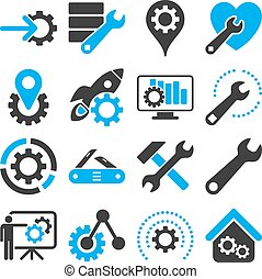 options, et, service, outils, icône, ensemble