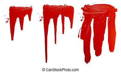 options flowing red paint on a white background. isolate. close up of paint leaking down