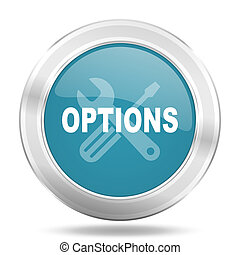 options icon, blue round glossy metallic button, web and mobile app design illustration
