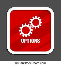 Options icon. Flat design square internet banner.
