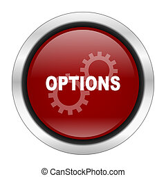 options icon, red round button isolated on white background, web design illustration