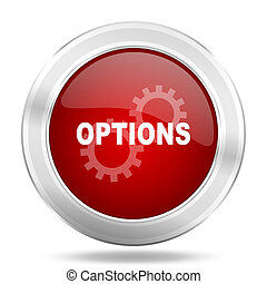 options icon, red round glossy metallic button, web and mobile app design illustration