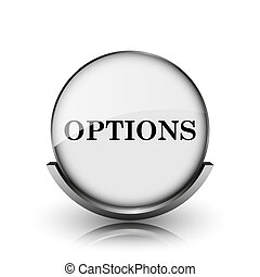 Options icon. Shiny glossy internet button on white background.