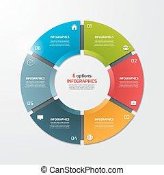 options., illustration., concept., ビジネス, ベクトル, テンプレート, infographic, チャート, パイ, 円, 6
